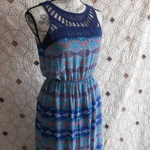 EUC Lily Rose Crochet & Patterned Blue Maxi Dress